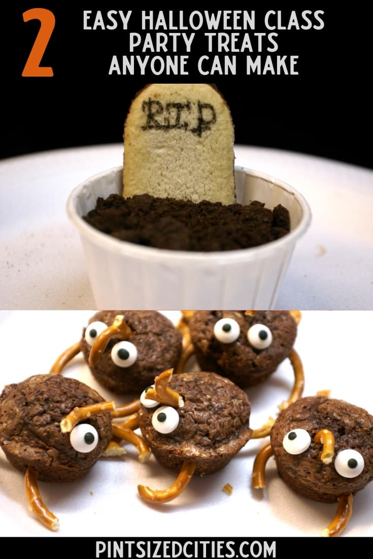 Two Easy Halloween Treats For Class Parties - Gravesite Pudding Treats and Buggy Brownies 