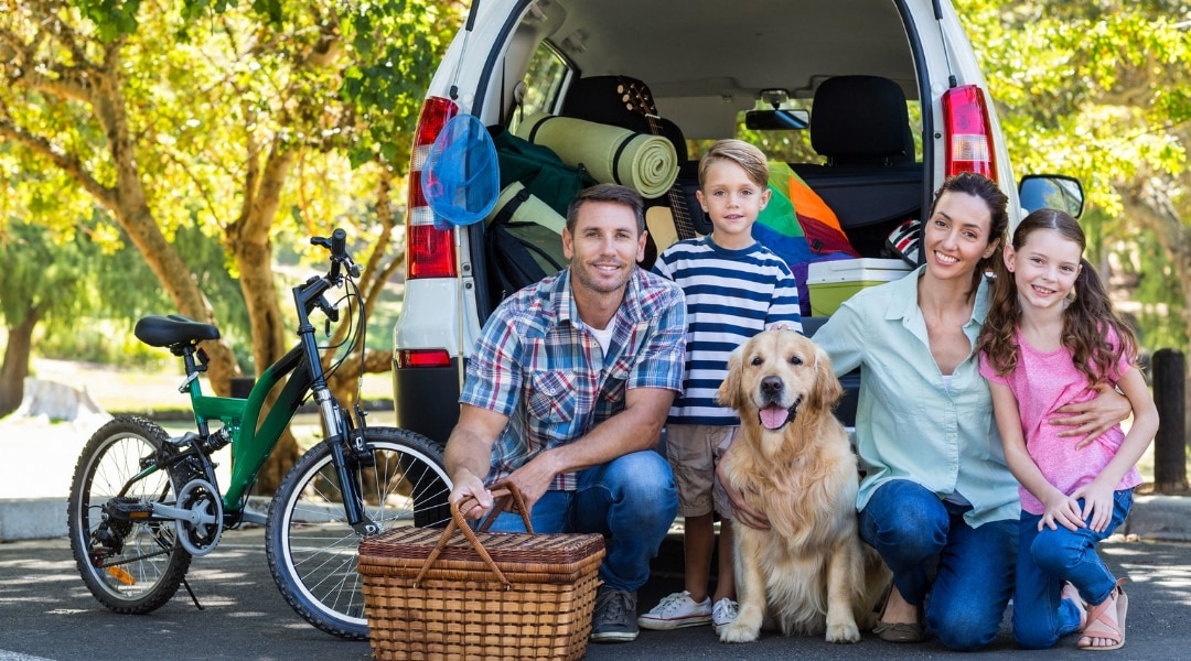 family taking a road trip