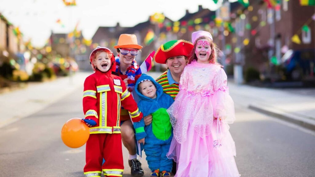 parents and children at a Halloween festival