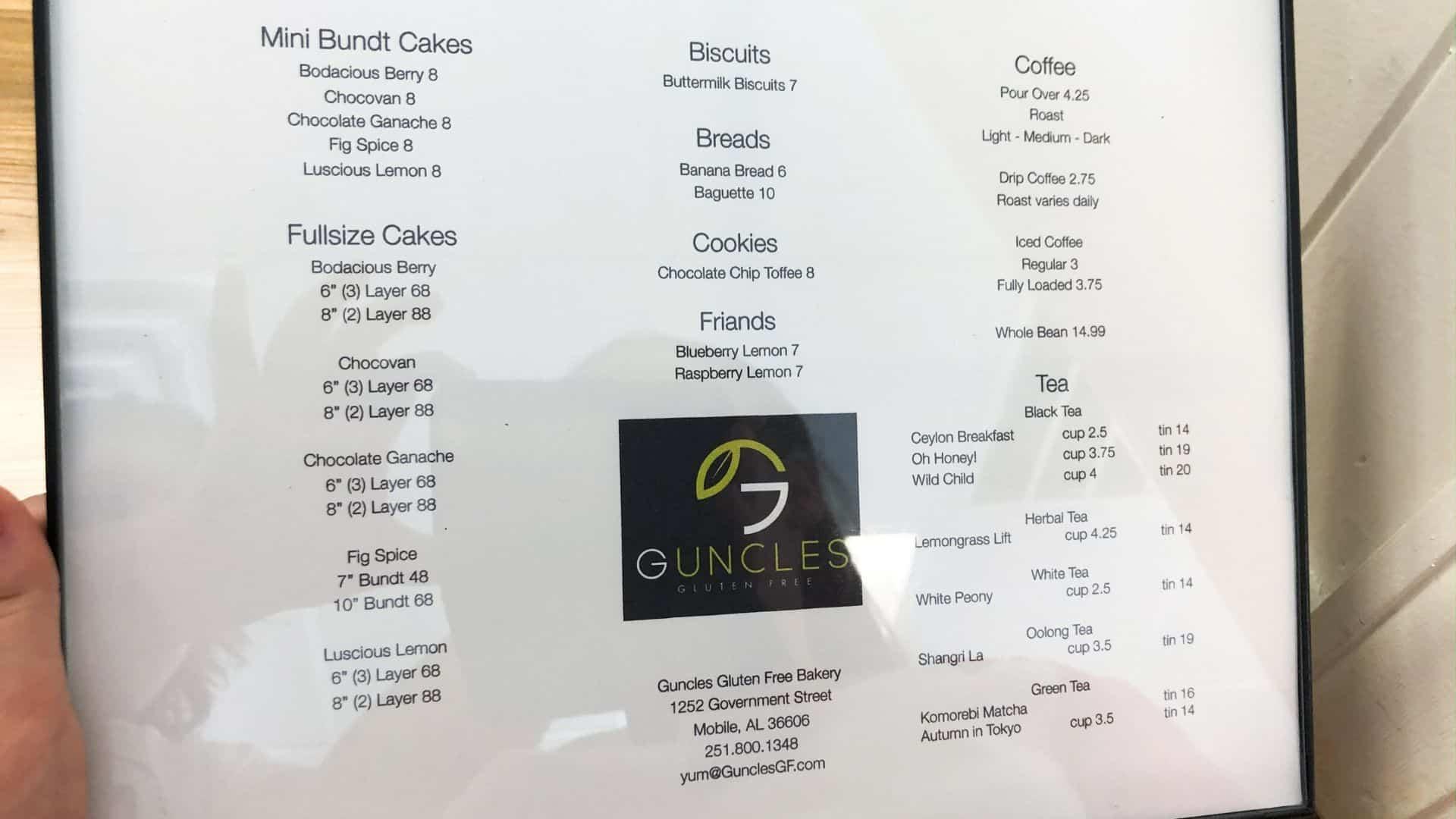 Guncles Gluten Free Bakery Menu