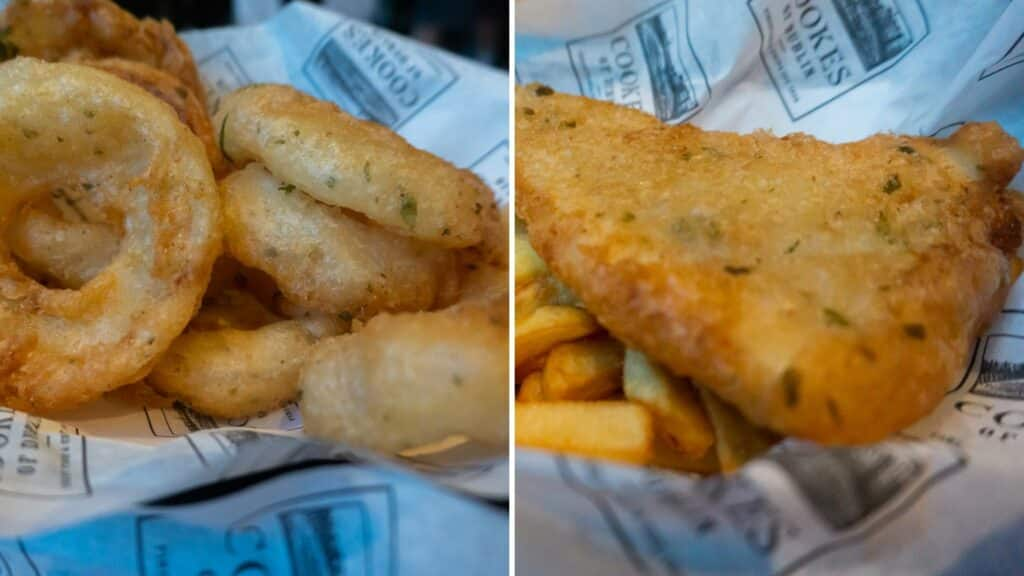 Cookes of Dublin Gluten Free Onion Rings and Fish and Chips Disney Springs