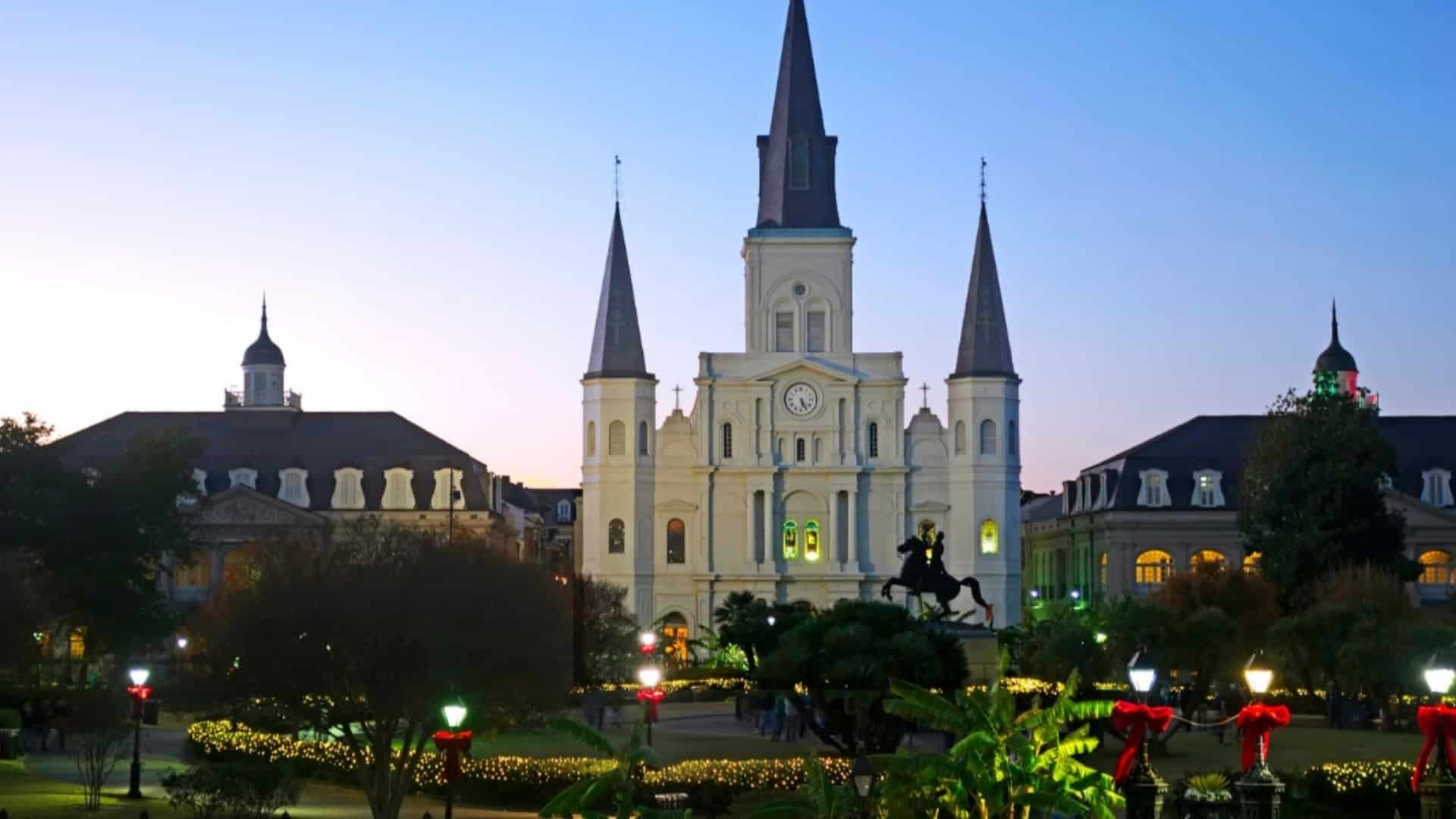 Jackson Square in New Orleans at Christmas time.